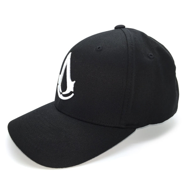 assassins creed logo hat 3/4 view black