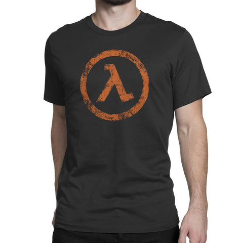 half life lambda logo t-shirt mens orange