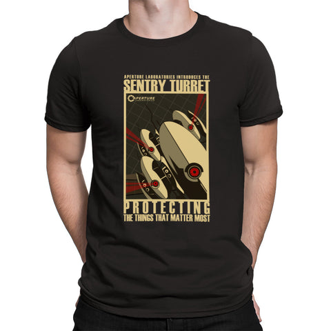 portal sentry turret t-shirt