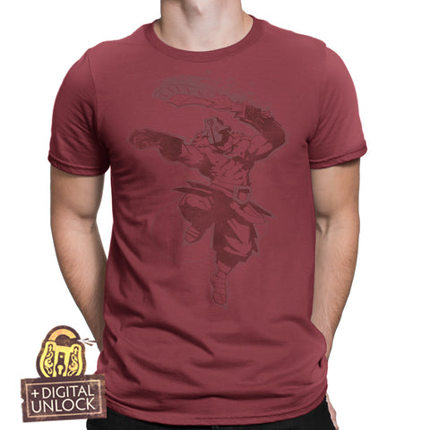 dota 2 juggernaut t-shirt red with digital unlock