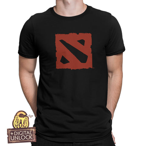 dota 2 t-shirt red logo with digital unlock