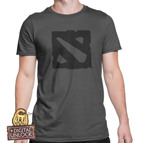 dota 2 t-shirt black logo with digital unlock
