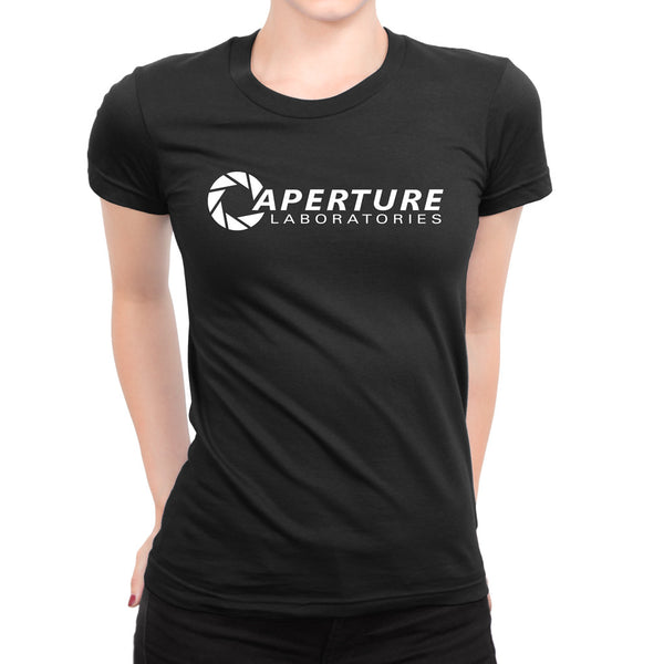 aperture laboratories logo girls t-shirt black