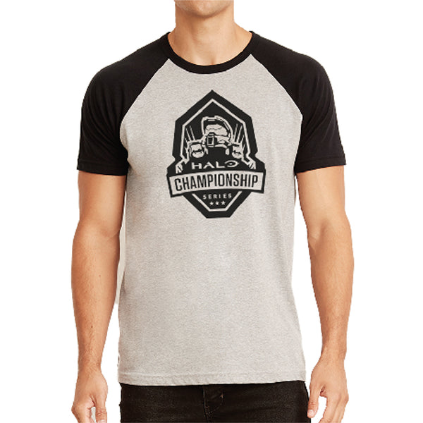 hcs halo black and heather raglan tee shirt