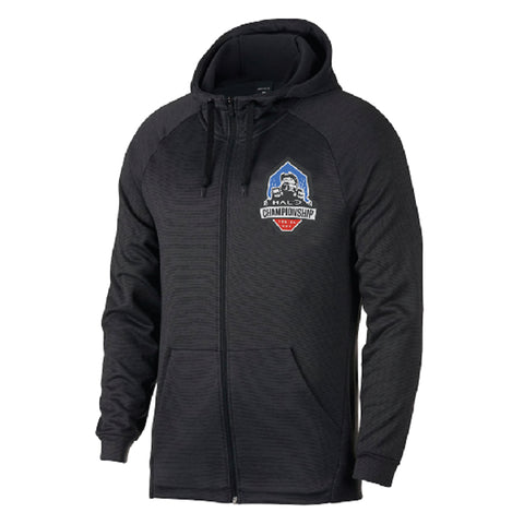 hcs halo black hoodie with logo on left chest