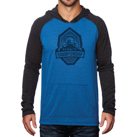 hcs halo blue vs red raglan hoodie