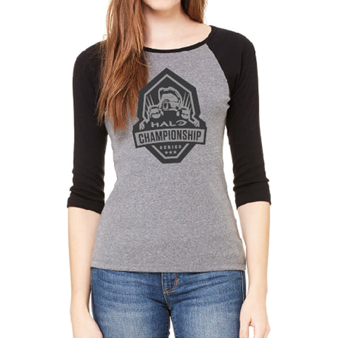 hcs halo ladies black and grey raglan tee shirt
