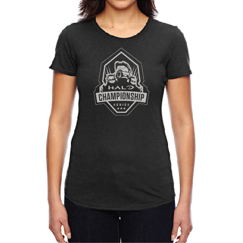 hcs halo ladies vintage black tee shirt