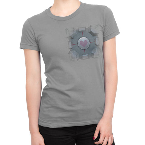 portal companion cube girls t-shirt