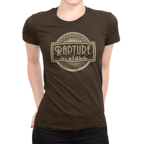 rapture logo video game girls t-shirt brown