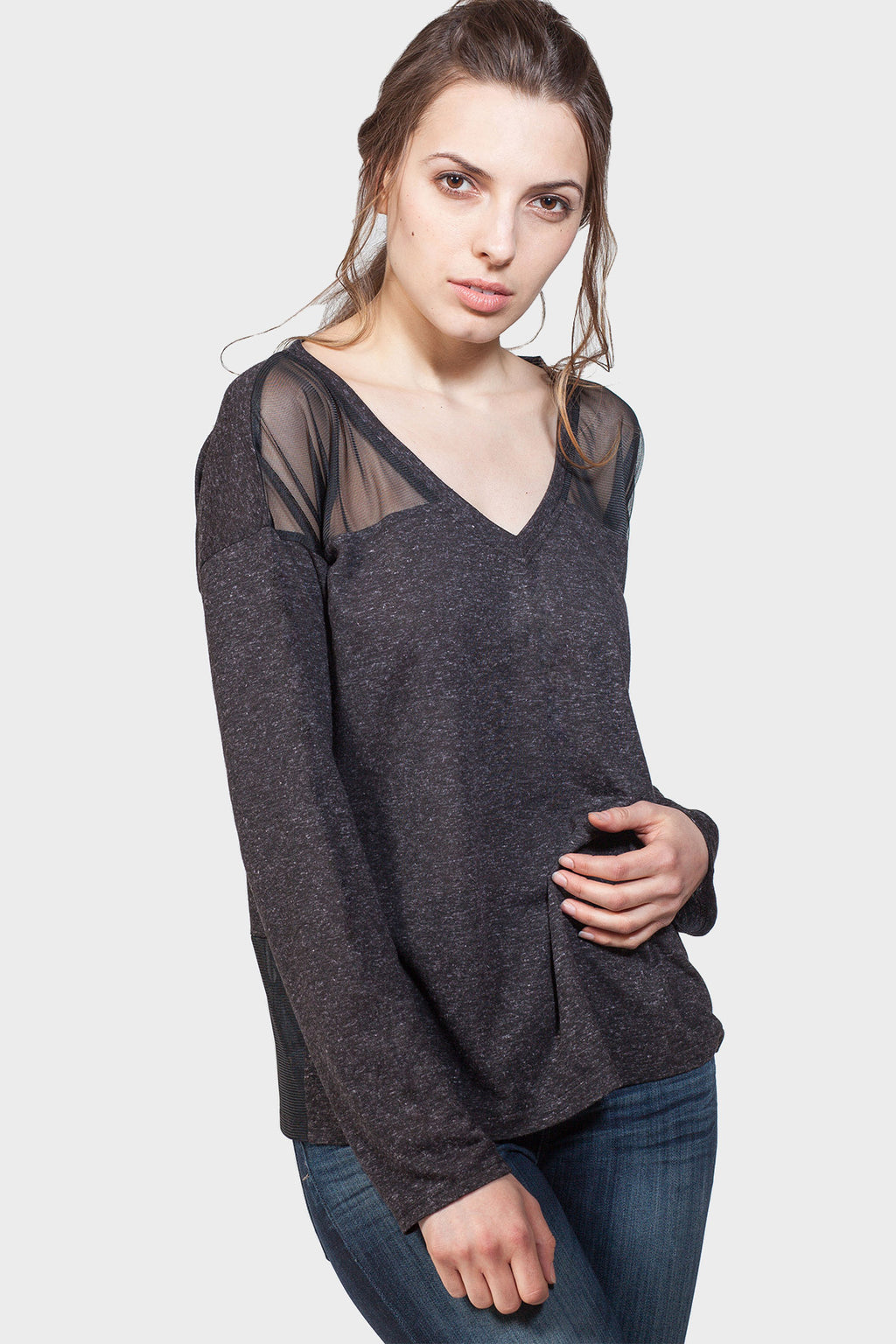 337 BRAND Women's Basic Sweatshirt with Mesh Details