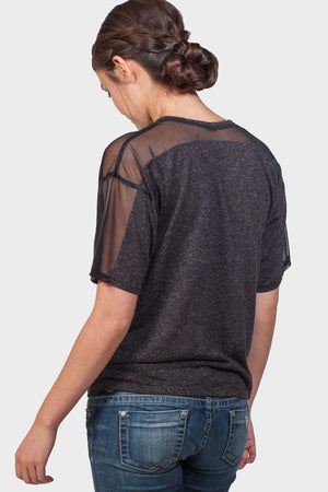 CENTER FRONT MESH PANEL TOP - 337 BRAND Women's Sustainable Clothing