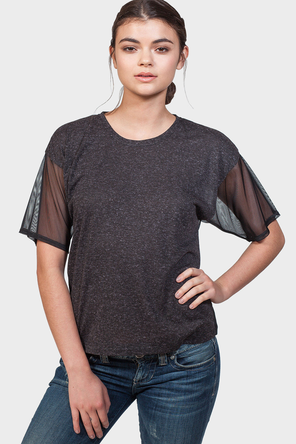 337 BRAND Women's Basic T-Shirt with Mesh Details