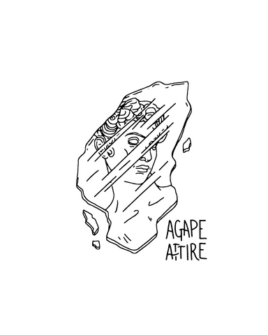 glass shard with a blurry face on it, including a hand scribed Agape Attire in the lower right section of the glass shard
