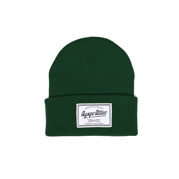 Script Patch Beanie in Forest Green