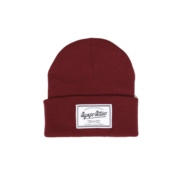 Script Patch Beanie in Maroon