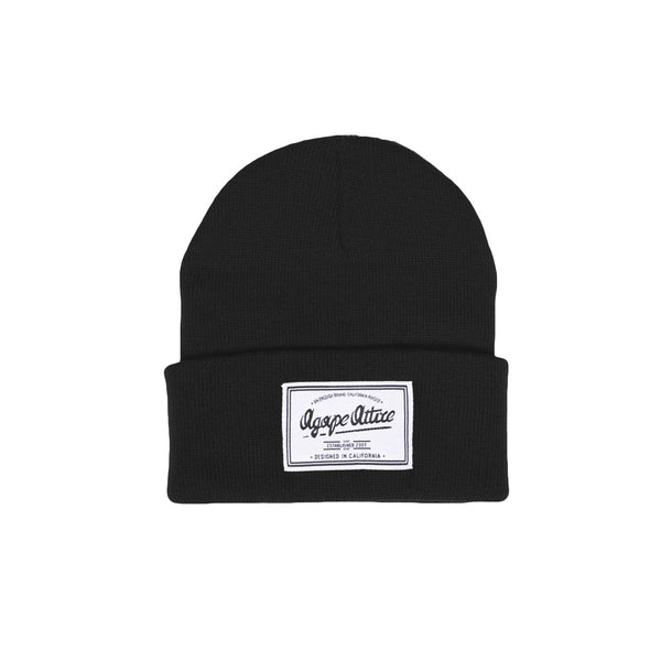 Script Patch Beanie in Black