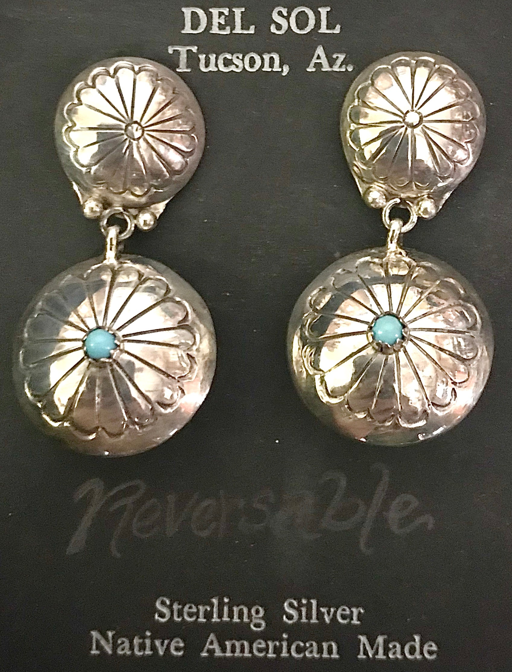 Navajo, Native American handcrafted, sterling silver, genuine stone earrings, made in New Mexico, USA.
