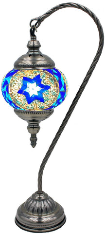 Blue mosaic glass globe lamp
