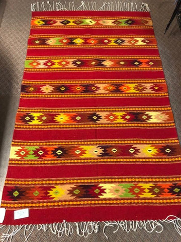 Zapotec Handwoven Wool rug  1071