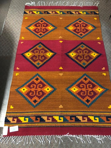 Zapotec Handwoven wool rug  1072