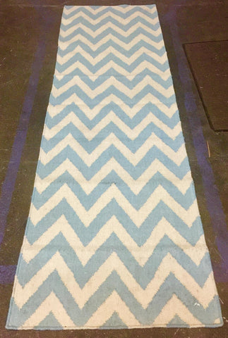 Light Blue Ivory Zig Zag 10956 (2.5X8) handwoven wool rug.  SAVE 50% AT CHECKOUT WITH DISCOUNT CODE SAVE50