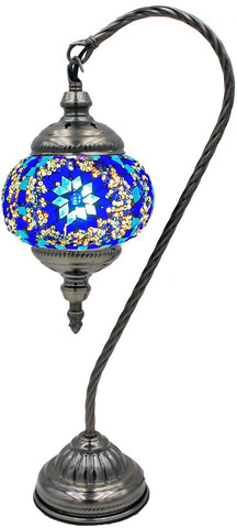 Goose neck style lamp with mosaic glass inlay in blues