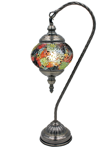Mosaic glass inlay lamp with glass globe in goose neck style.