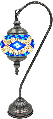 Blue gooseneck mosaic glass lamp