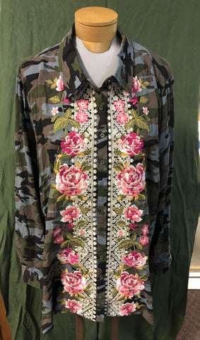 Camo blouse with intense embroidery on front.