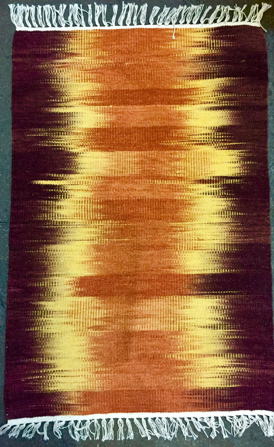 Rust Orange Ikat handwoven rug 1634  Save 50% at checkout with code SAVE50