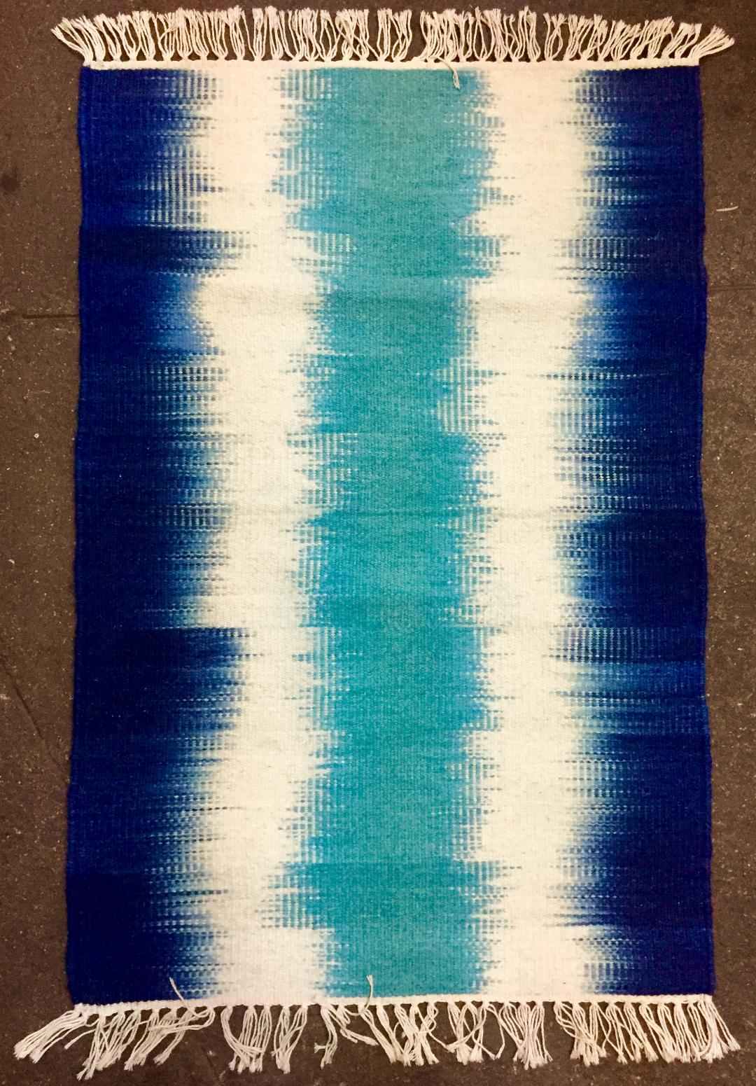 Blue, White Ikat 1698-0 Handwoven rug.  Save 50% with code SAVE50 at checkout