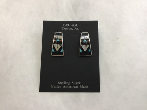 Turquoise, Coral, White Clam Shell Inlay Earrings (F18) USE CODE: SAVE50