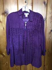 Just Cruising label Rayon one size top in purple with embroidery