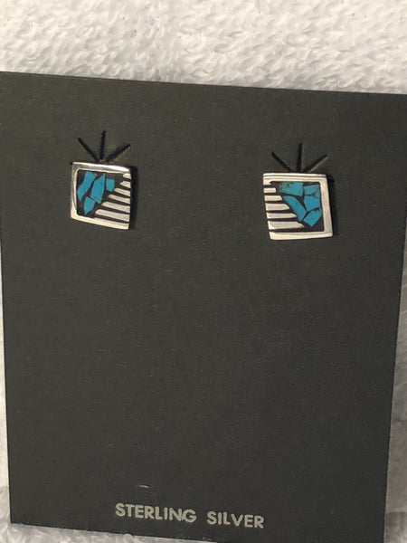 Aztec design earrings with turquoise color inlay