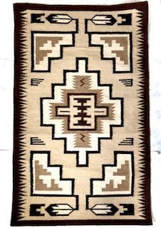 Handwoven Wool Rug inspired by an Original Navajo Two Grey Hills rug #2117