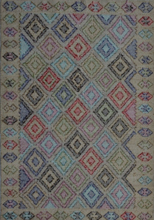 Wool Rug 24770, totally handwoven, 3 dimensional pastel rug.