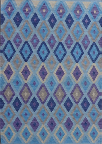 Handwoven Wool Rug  in shades of blue, 24780