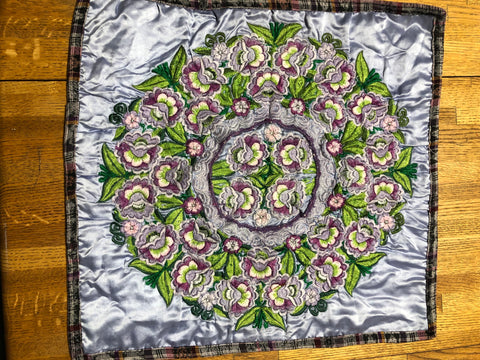 "Guatemalan pillow covers in vintage and new embroidered, crocheted, and needlepoint fabrics. Approximately 20"" x 20"" for 18""x18"" insert."