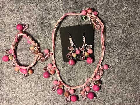 Pink jade necklace, bracelet, earrings, sterling silver ear wires. Use code SAVE50 at checkout to save 50%.
