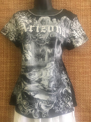 Arizona black and white all over print souvenir tee shirt