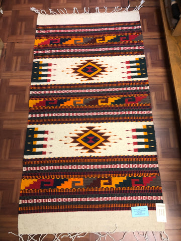 Zapotec handwoven wool rug.  1061