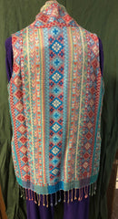 BOK (Best of Kashmir) label woven rayon shorter fringed vest.