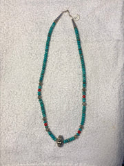 "Native American made genuine turquoise necklace with Sterling Silver, Approx. 20"".  Use code SAVE50 at checkout to save 50%"