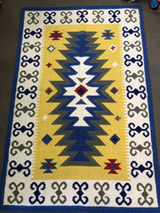 #23560. Eye of Heaven design rug in yellow. 100% wool face.