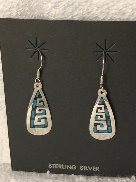 Turquoise color inlay Sterling Silver earrings A-5. Use code SAVE50 at checkout to save 50%.