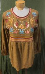Embroidered bodice with long sleeves in medium brown