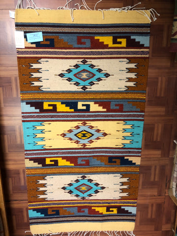 Zapotec handwoven rug in wool.   1038