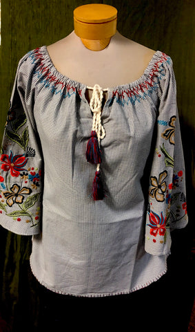 Andre style embroidered peasant.  Price is 50% off our regular price.  Avani Del Amour label.