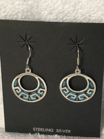 Turquoise color inlay in Aztec design earrings